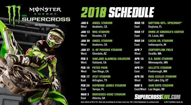 Monster Energy Supercross 2018 Schedule Announced